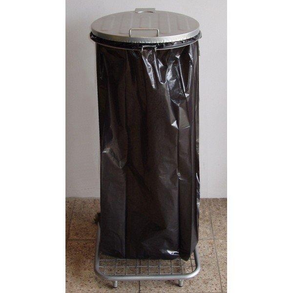Stojak do worków na śmieci na kółkach W1Mp z pedałem