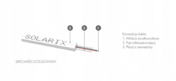 Kabel światłowodowy FTTH SM 2J 9/125 LSOH/PE biały Solarix