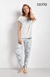 Piżama damska Esotiq Cristal 34546-09X lekko szara z niebieskim