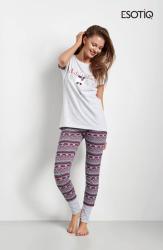 Piżama damska Esotiq Clarity 34718-90X, 34721-43X Szaro-Bordowa z krótkim rękawkiem
