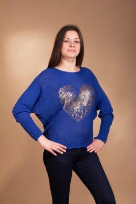 Sweterek Love szafirowy