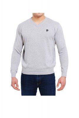 Sweter V-Logo szary Pierre Cardin