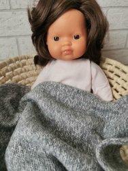 Olimi, sweterkowy kocyk dla lalki szary melanż