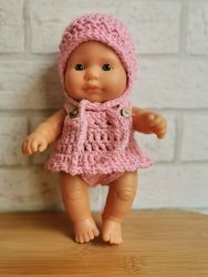 Olimi, czapeczka szydełkowa dla lalki Miniland, 21cm, różowa