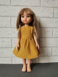 Olimi, sukienka z muślinu dla lalki Paola Reina 32cm, miodowa