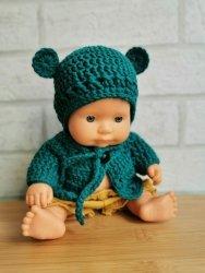 Olimi, sweterek szydełkowy dla lalki Miniland 21cm, morski