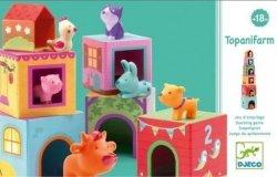 Djeco, klocki kartonowe ze zwierzątkami, topanifarm