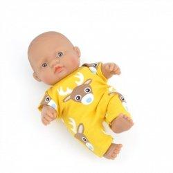 kombinezon miodowy w jelonki dla lalki Miniland, 21cm