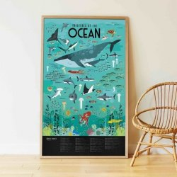 Poppik, wielki plakat wyklejanka, 59 naklejek, ocean
