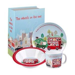 Little Rhymes, zestaw naczyń z melaminy, autobus