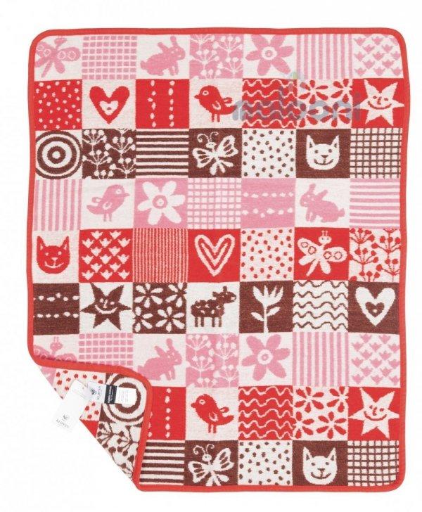 Klippan, pled z bawełny organicznej, quilt, 65x90cm, róż