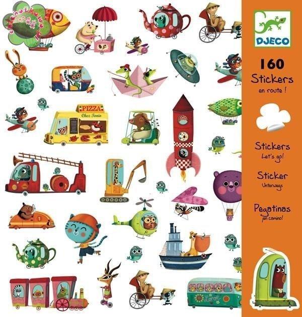Djeco, naklejki pojazdy, 160 elementów