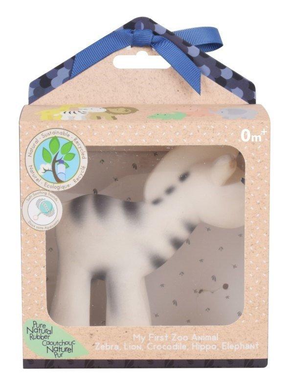 Tikiri, gryzak kauczukowy z grzechotką, w pudełku, zebra