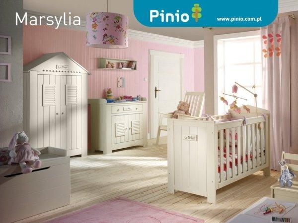Pinio, łóżeczko 120x60cm, Marsylia, białe
