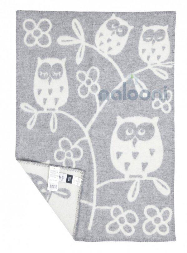 Klippan, pled z ekowełny, 65x90cm, 3 owls, szary