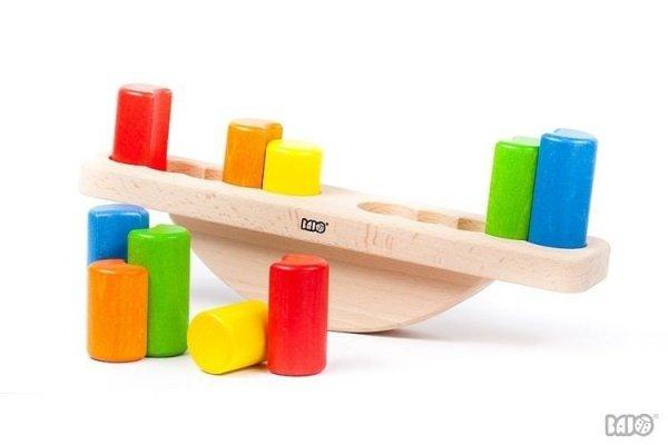 Bajo, drewniana waga z odważnikami, układanka