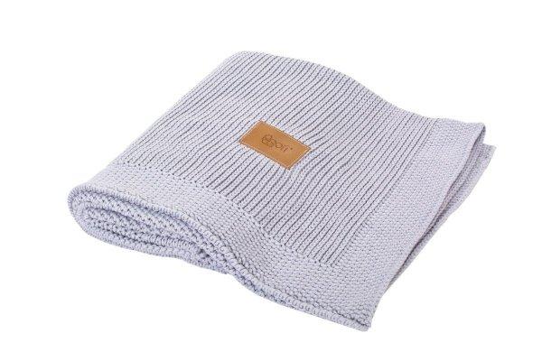 poofi, kocyk sweterkowy, z bawełny organicznej, szary jasny