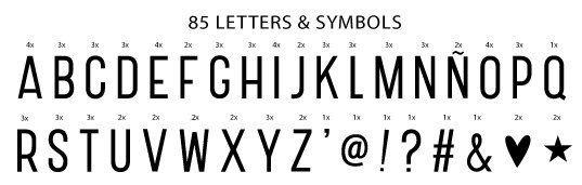 A Little Lovely Company, zestaw 85 liter i znaków, basic