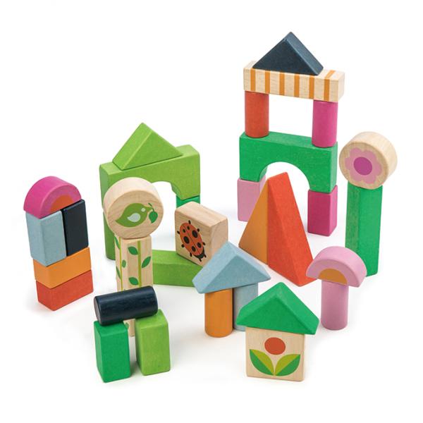 Tender Leaf Toys drewniane klocki, podwórko, 34 elem.