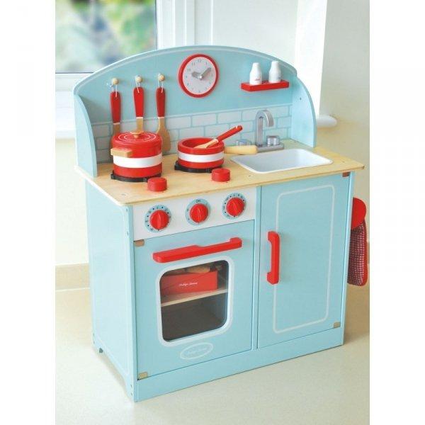 Indigo Jamm, drewniana kuchnia, błękitna