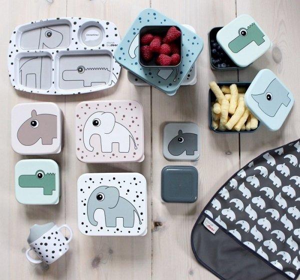 Done by Deer, lunchbox, słonik, niebieski