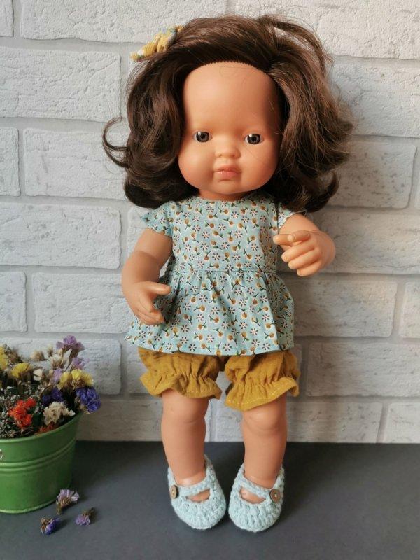 Olimi, tunika z bloomersami na lalkę Miniland, 38cm, mirabelki