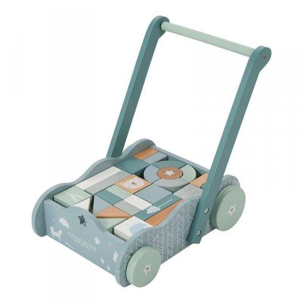 Little Dutch, wózek pchacz z klockami, błękitny