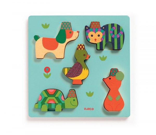 Djeco, drewniane puzzle, kolorowe zwierzątka