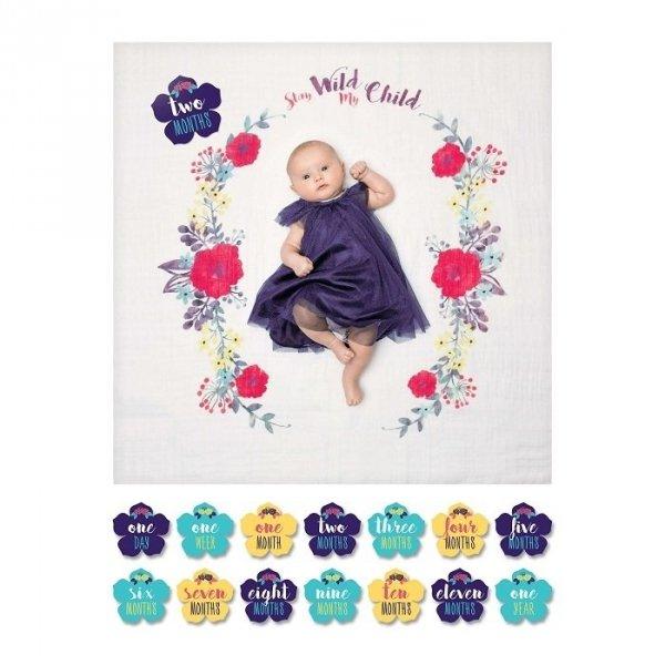 Lulujo, zestaw: kocyk muślinowy+ karty, bright flower,