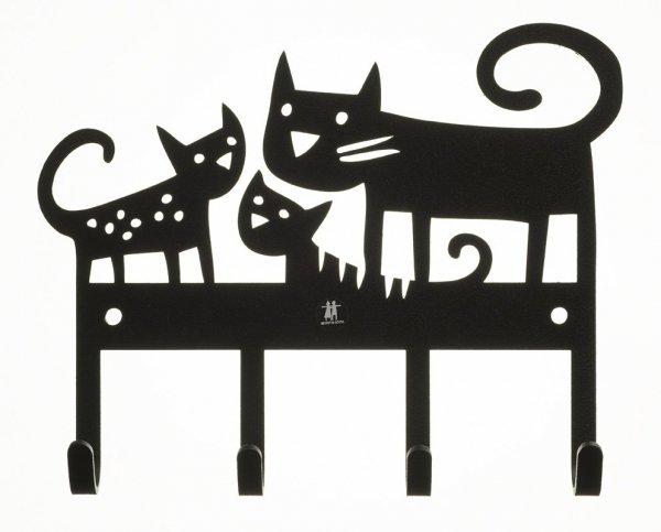 Klippan, wieszak metalowy, koty, czarny