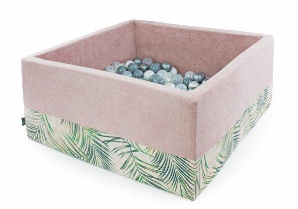Suchy basen, + 200 piłeczek, kwadratowy, 90x90x40cm, palmy różne kolory