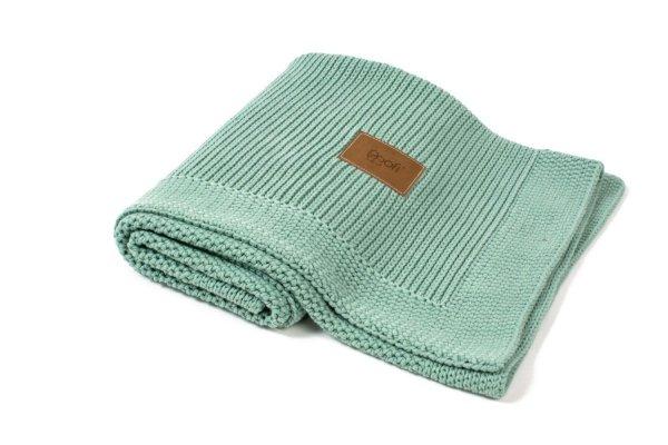 poofi, kocyk sweterkowy, z bawełny organicznej, miętowy