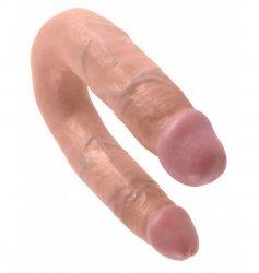 King podwójne dildo - Cock U-Shaped Medium Double Trouble sztuczny penis (cielisty)