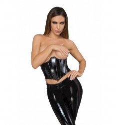 F211 Lacquered eco leather corset wit fishbones M