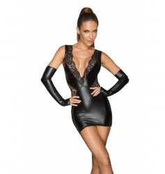 F212 Powerwetlook and lace minidress with a deep neckline L