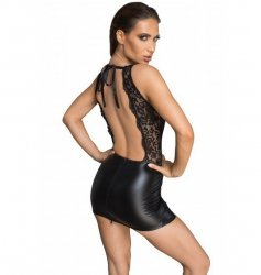 F214 Powerwetlook and lace minidress with deep neckline on the back XL