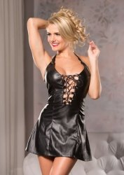 Faux Leather Playfully Dress