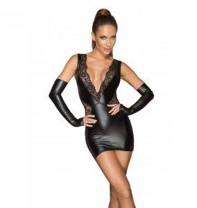 Noir handmade F212 Koronkowa mini sukienka z głębokim dekoltem L (czarny)