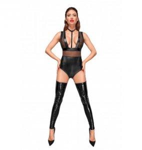 Noir handmade F183 Body z szerokimi ramiączkami, tiulowymi wstawkami i aksamitnym chokerem S (czarny)