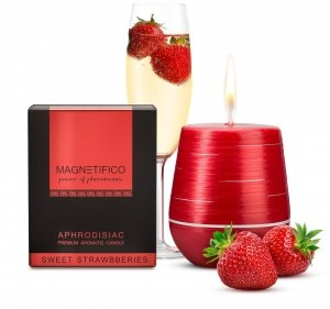 MAGNETIFICO Aphrodisiac Candle Sweet Strawberries - aromatyczna świeca z feromonami (truskawka)