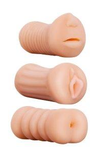 Dream Toys Realstuff 3 in 1 Masturbators Flesh - zestaw masturbatorów 3 w 1
