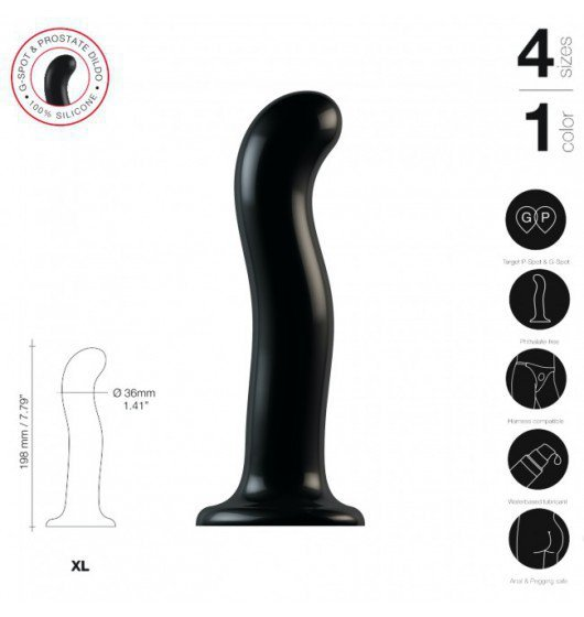 Strap-on-me czarne Dildo Point P&G XL (czarny)