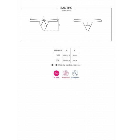 Obsessive 826-THC-4 stringi otwarte beżowo-brązowe S/M