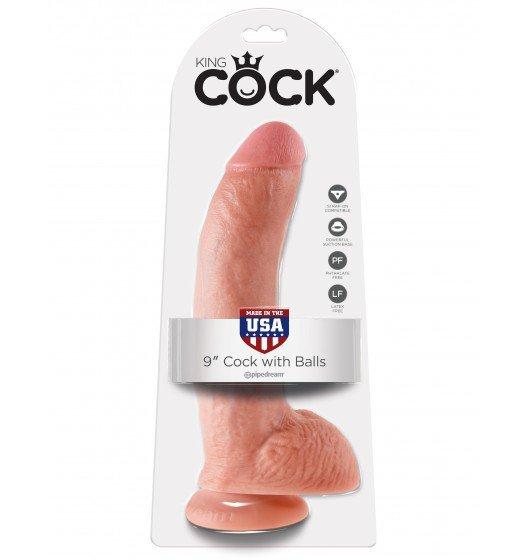 King Cock dildo - 9'' Cock with Balls sztuczny penis (cielisty)