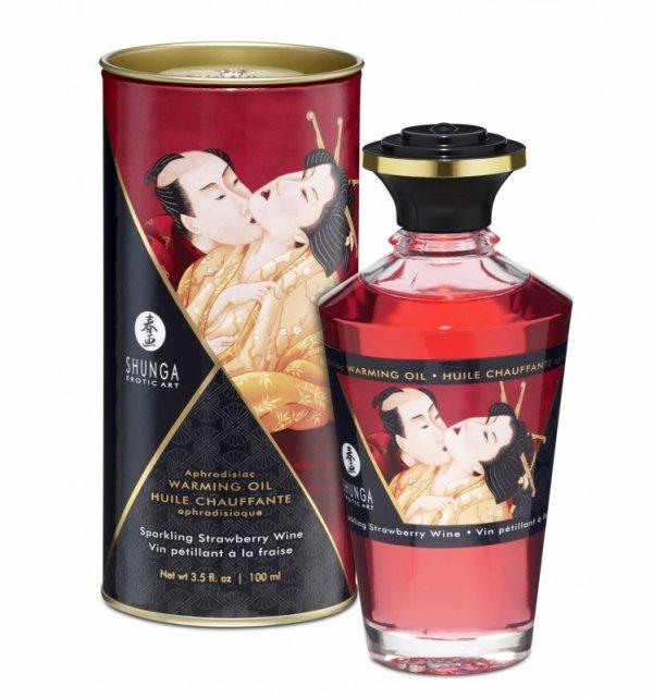 Shunga Aphrodisiac Oil Sparkling Strawberry Wine 100 ml - olejek do masażu (wino musujące)