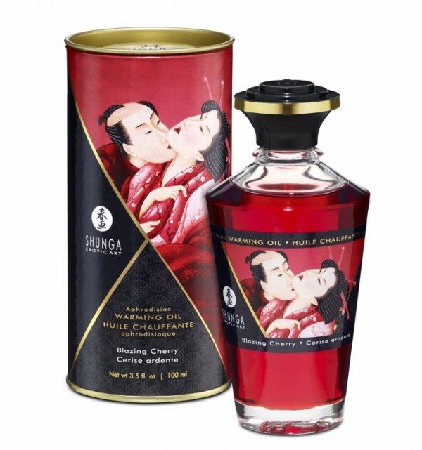 Shunga Aphrodisiac Oil Blazing Cherry 100 ml - jadalny olejek do masażu (wiśnia)