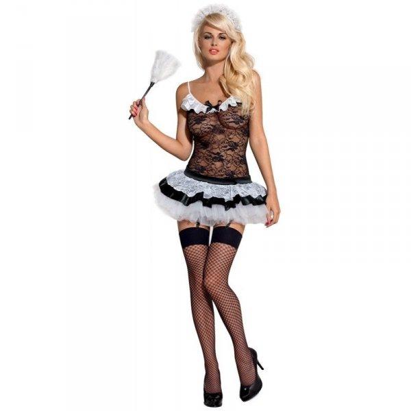 Obsessive Housemaid kostium S/M (czarny, biały)