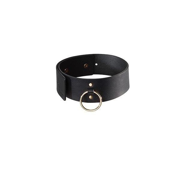 Bijoux Indiscrets - szeroka obroża ze smyczą MAZE, czarna