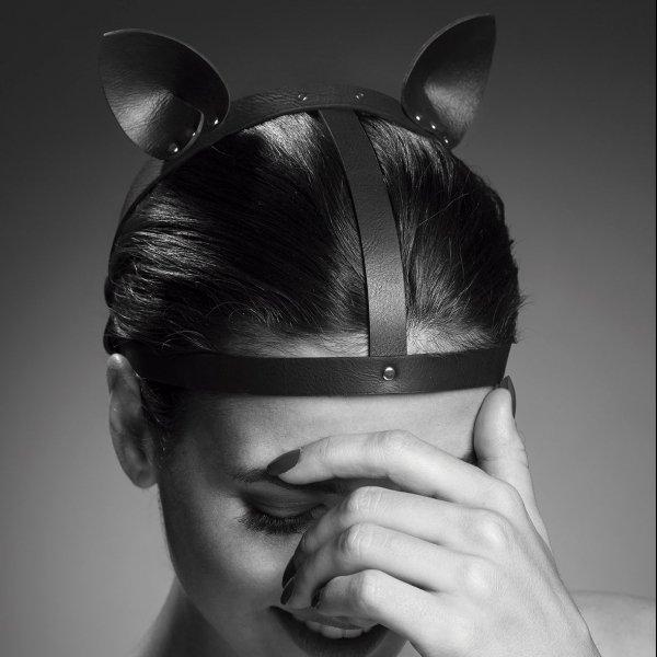 Bijoux Indiscrets MAZE Head Piece - skóropodobne nakrycie głowy (brązowy)