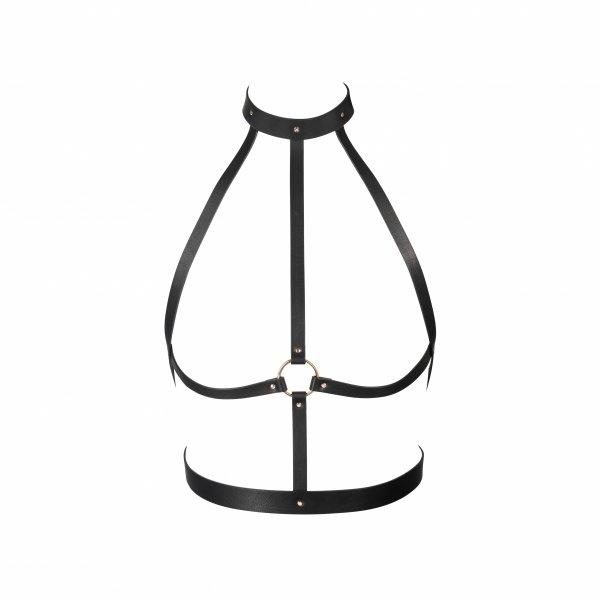 Bijoux Indiscrets MAZE H Harness  - uprząż BDSM skóropodobna (czarny)